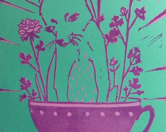 teacup chihuahua linoleum cut