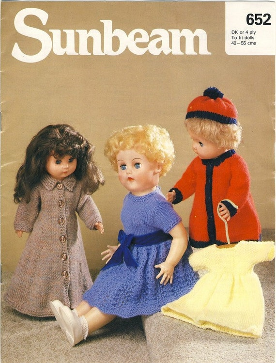 Sunbeam 652 Dolls Knitting Pattern Dolls Outfits for