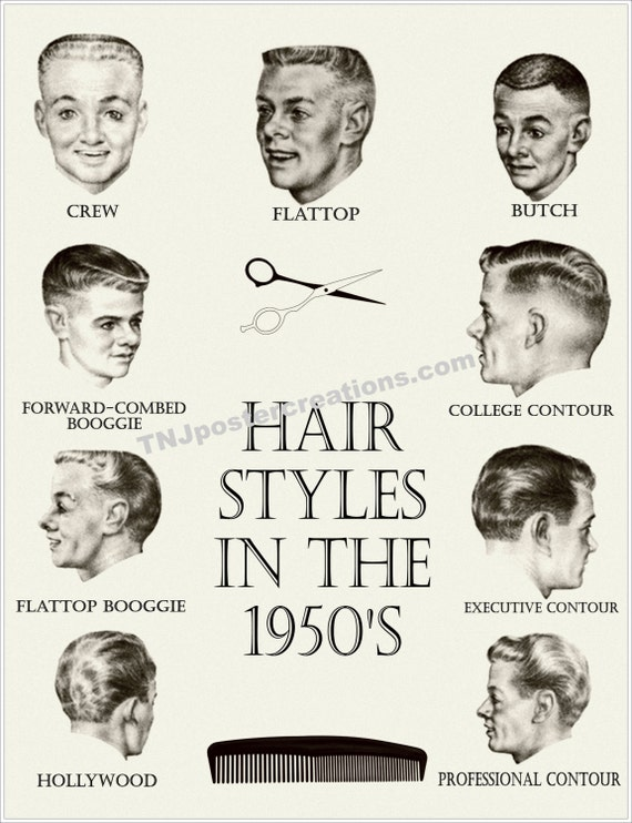 Hair Styles In The 1950s Poster Crew Cut By Mygenerationshop