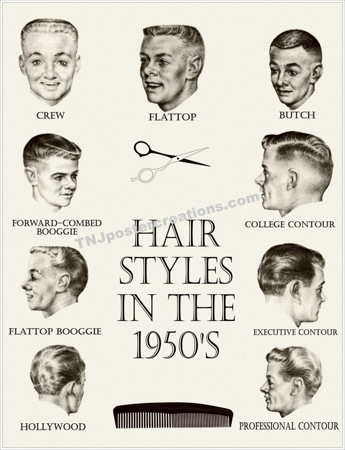 Hair Styles in the 1950s Poster Crew Cut Flattop Butch