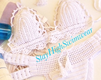 White Crochet Bikini Women Swimwear Triangle Crochet Swimsuit  Full Lining STAYHIGHSWIMWEAR