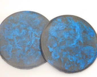 Blue swirl set of 2 drink coasters