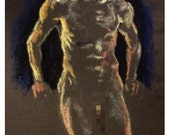 Dark Blues & Bright Yellows, original pastel life drawing mature