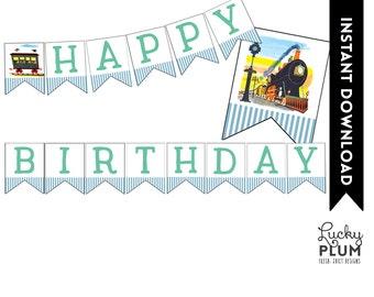 Train Birthday Banner / Train Party Banner / Printable / DIY / *Digital File Printable TN01