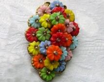 Frank Hess Vintage 1940's Ww2 Fruit Salad Beaded DRESS Clip Unsigned MIRIAM HASKELL Designer