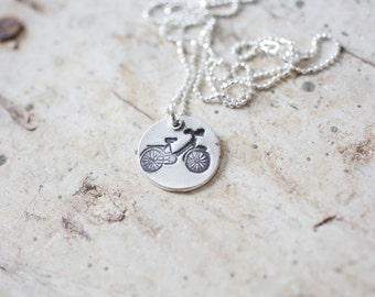 Bicycle necklace, Bicycle, bicycle jewelry, bike jewelry, bikes, bicycle, charm necklace, silver necklace, silver necklace