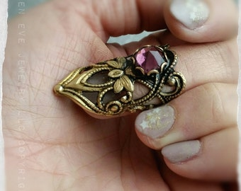 Wild Orchid Knuckle Ring or Nail Tip Ring versatile Steampunk or Boho fantasy style jewelry