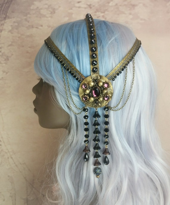 SOLD RESERVED Art Nouveau Headpiece Headdress La Belle Dame Sans Merci Romantic Era Style Ready To Ship Was 395.00