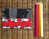 Cat and Fish Fabric Postcard - Repurposed - One of a kind - black and red