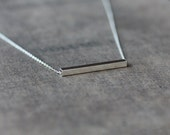 Silver Line Necklace, Sterling Silver Bar, Silver Bar Necklace, Square Tube Necklace, Layering Jewelry, Everyday Necklace, Geometric Jewelry