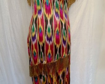 Vintage 1960's Amazing Uzbek Ikat Pants and Tunic Set with Beaded Fringe