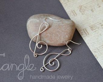 Sterling Silver Treble Clef Earrings