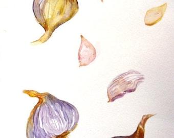 Garlic watercolor painting original, culinary watercolor painting, garlic bulbs, kitchen decor, garlic art, garlic bulbs watercolor