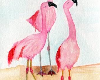 Flamingos watercolor painting original, 5 x 7 pink bird art, small watercolor painting, original watercolor of pink flamingos
