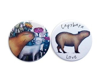 Capybara Cat Badges Pins / Fridge magnets - love kawaii cute cats - set of 2