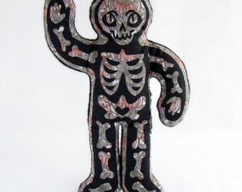 Skeleguy -Silkscreened doll with soft fleece backing- flower print