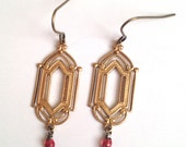 Deco frame earrings - dark rose, light pink, or clear accent beads