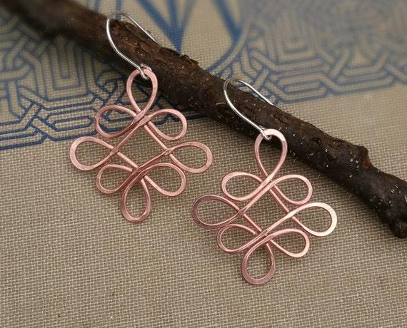 Looping Celtic Crossed Knots Copper Wire Earrings, Celtic Jewelry, Celtic Knot Earring, Copper Jewelry, Handmade Women, Dangle Earrings