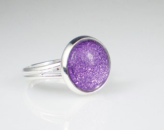 Lavender Purple Glitter Nail Polish Ring Tru Passion Sparkle Adjustable Ring Jewelry