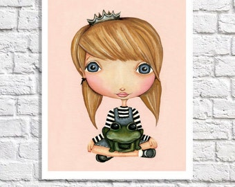 Princess Art Princess And Frog Nursery Baby Girl Room Decor Idea Little Blonde Princess Picture Fairy Tale Print Toddler Bedroom Wall Art