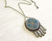 Teal Mandala Necklace - Istanbul Collection - by Loschy Designs