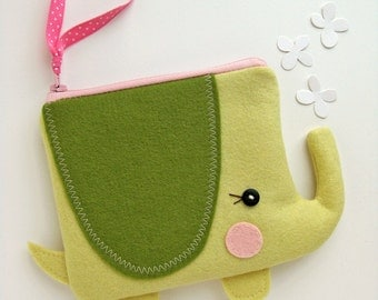 Wee Elephant Pouch in Yellow and Green
