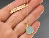 Gold Layer Necklace, Initial Bar, Hammered, Druzy Pendant, Turquoise, Teal Blue, Personalized Gift, Simple Necklace, Double Strand, Letter