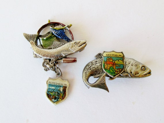 Fishing collectible pins german hat pins set by aplaceofrefuge for Fishing hat pins