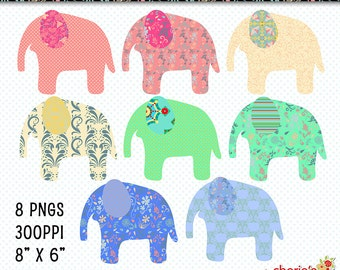 Floral Whimsical Elephant Clip Art Set, Elephant Graphics, Digital Download Elephant Clip Art, Digital Scrapbooking Embellishments, Digitals
