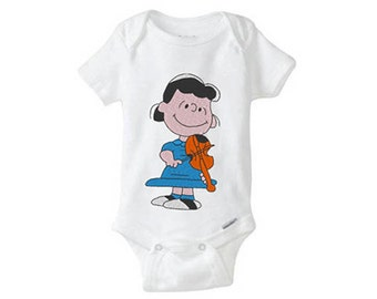 LUCY Peanuts Gang Embroidered Baby Girl Onesie, embroidered onepiece, baby undershirt, unisex baby