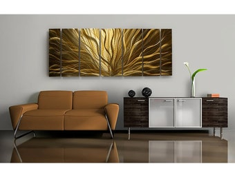 Large Golden Contemporary Painting - Handmade Abstract Metal Art - Vibrant Metallic Hanging - Home Decor - Champagne Plumage by Jon Allen