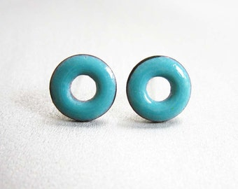 Lifesaver Loop Post Stud Earrings, Sky Blue Kiln-Fired Glass Enamel and Sterling Silver, 24 Custom Colors Available
