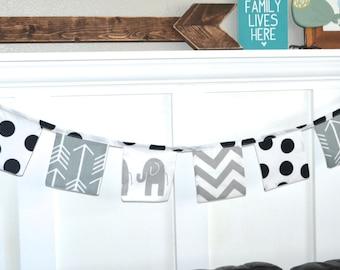 SALE Black and white garland - Fabric banner - modern black white bunting - Kids room decor - Fabric garland - Elephant banner