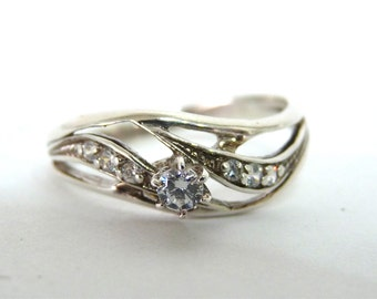 Diamond Engagement Ring Sterling Silver Wedding ring