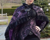 Victorian Bridal Cloak Capelet - Plum Purple and Black - Ready to Ship