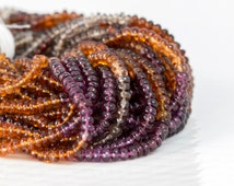 Sapphires Beads, Tundra Sapphire Smooth Rondelles, Full 13 inch Strand, 3.5mm - Red, Purple, Orange, and Gray - Multicolor Strand - Item 256