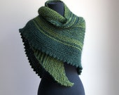 HandKnit Asymmetrical Shoulder Shawl Head Scarf Cowl Wrap, Stylish Comfort Prayer Meditation, Green, Ready to Ship FREE SHIPPING