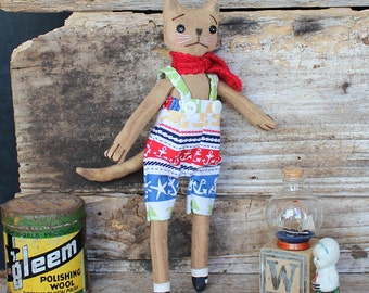 Jake the cat, primitive style, cloth doll