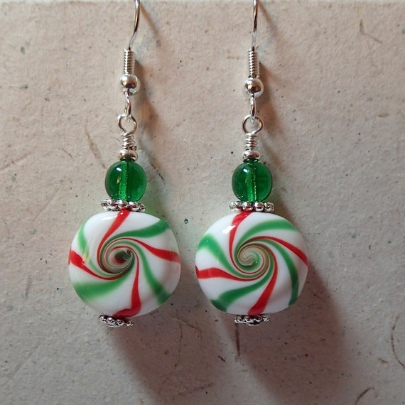 Christmas candy glass beaded earrings green red and white