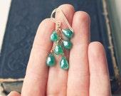green earrings, emerald green quartz gemstone jewelry, bridesmaid jewelry, dangle earrings