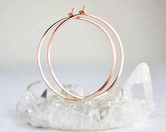 rose gold hoop earrings, 14k pink gold filled, medium gold hoops minimalist earrings