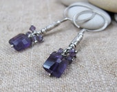 Purple Amethyst Cluster on Long Silver Beaded Earrings