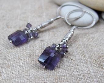 Purple Amethyst Cluster on Long Silver Beaded Earrings