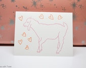 Baby Goat Love Card, Cute Animal valentine or anniversary