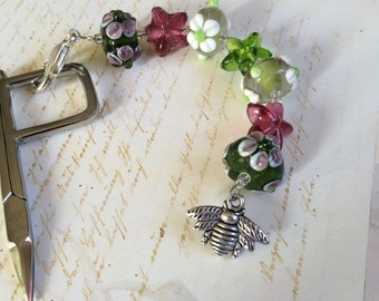 Bee in the Flowers scissors fob lampwork glass beads bumble bee