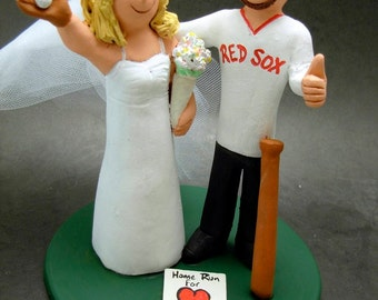Boston Red Sox Baseball Wedding Cake Topper