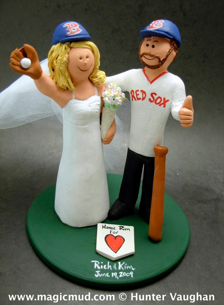 Boston Red Sox Baseball Wedding Cake Topper
