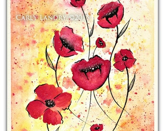 Wild Poppies - Original Watercolor Floral Painting Poppy Flowers Abstract FREE shipping
