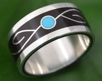 Vida Coyol and Turquoise Wood Ring - ecofriendly wood wedding band, turquoise wedding ring, wood and stone inlay wedding ring