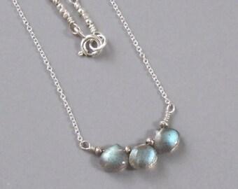 Labradorite Sterling Silver Necklace Chain Bead Tiny Briolette DJStrang Boho Cottage Chic Color Flash Spectrolite Gemstone Trio